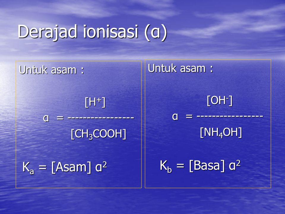Derajad ionisasi (α) Kb = [Basa] α2 Untuk asam : Untuk asam : [OH-]